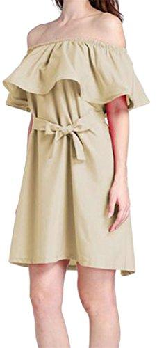 L'été Des Femmes Cromoncent Hors Robes Midi Ceinture Balançoire Épaule Froissée Kaki