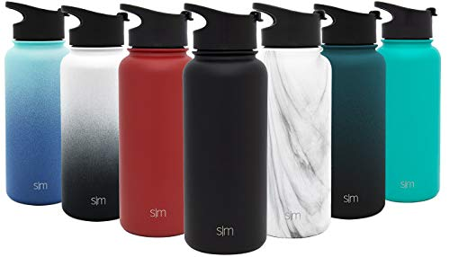 (Simple Modern 32 oz Summit Water Bottle - Stainless Steel Metal Flask +2 Lids - Wide Mouth Double Wall Vacuum Insulated Black Leakproof Thermos - Midnight Black)