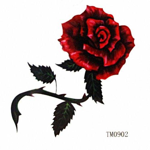 MapofBeauty Rouge Rose Tattoo temporaire Autocollant étanche Body Tattoo (20 pcs / lot)