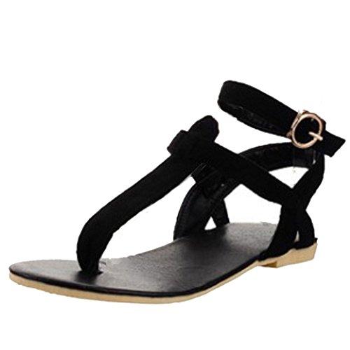strap Toe Plano Tobillo Zapatos Sandalias Open 772 TAOFFEN Al Clip T Negro Mujer Moda Back tTwBxzRq8