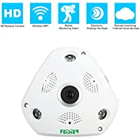 FEISIER 1.3M P2P 960P Wireless Home IP Camera Surveillance System 360 Degree Panorama 3D Fisheye Infrared Camera with Power supply and Support VR Box,Included 16G TF Card.