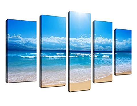 Canvas Wall Art Blue Sea Beach Nature Painting Framed Ready to Hang - 5 Pieces Large Summer Ocean Art Landscape Pictures Artwork Giclee Printed on Canvas For Home and Office (Blue Theme Room)