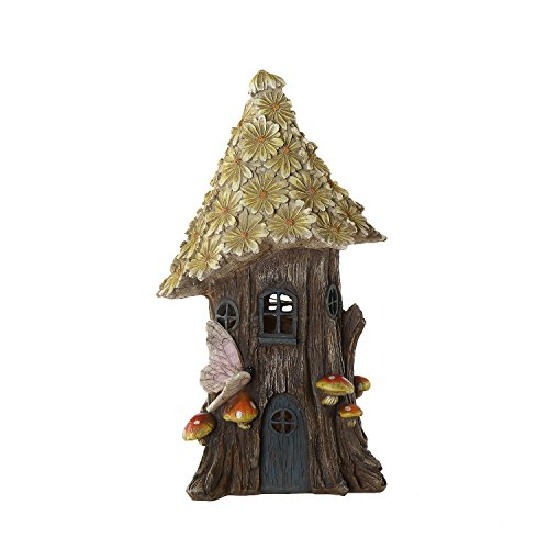 Ivy Home Miniature Fairy Garden Flower Solar Powered Garden Statue House,Wild Chrysanthemum