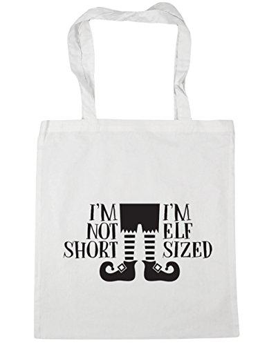 HippoWarehouse I 'm No corto I' m tamaño de elfo bolsa de la compra bolsa de playa 42cm x38cm, 10litros, negro (negro) - 21471-TOTE-Black blanco