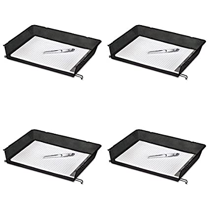 Rolodex Desk Tray, Nestable MESH Side Load Stacking Letter Tray, 1 Unit, Black (62555) Sanford