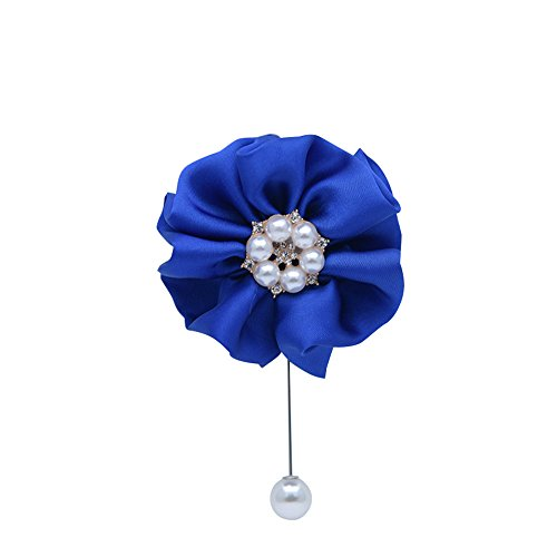 MOJUN Flower Boutonniere Pearl Crystal Groom Boutoniere Brooch Wedding Party Prom, Pack of 1, Sapphire (Flower Brooch Crystals Sapphire)