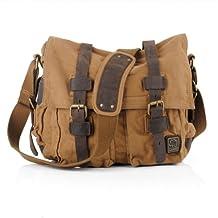 S.C.Cotton Vintage Canvas Shoulder Bag Sling School Bags Tool Bag (Khaki)