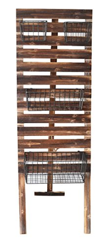 Cheungs Wood Slat A Board with Wire Baskets - Brown - 15. (Wood Slat Shelves)