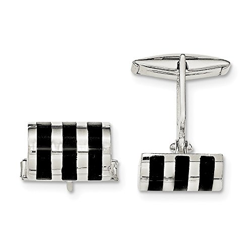 Sterling Silver Simulated Onyx Cuff Links ()