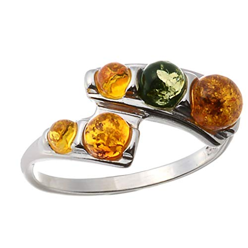 HolidayGiftShops Sterling Silver and Baltic Multicolored Amber Ring Aria Size: -