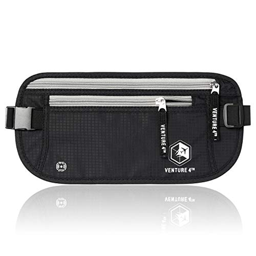 VENTURE 4TH RFID Money Belt Protect Yourself From Travel Theft Comfortable Durable and Lightweight (Black) (Keep Money Safe)