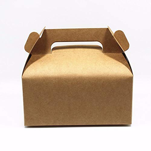 FidgetFidget Box with Handle White and Brown Color Cake Gift Candy Pack for Wedding Favour White 11.5x8.5x8cm (4.5x3.3x3.1 inch) ()