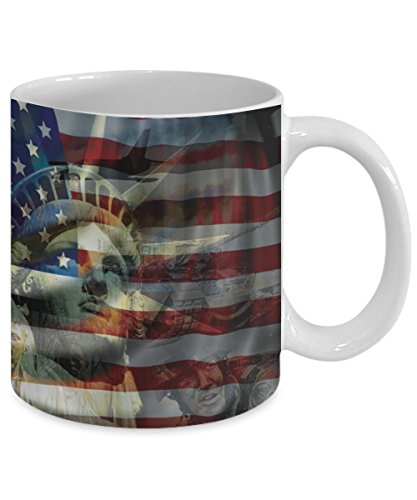 Patriotic Mug \ American Flag, Statue of Liberty Image \ Mugs With Images by Vitazi Kitchenware, 11 oz Ceramic Coffee Mug - USA, Military and Veterans Gift (White)