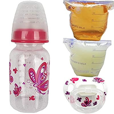 Reborn Butterfly Sealed Bottle Bag Fake Formula Milk & Apple Juice Putty Pacifier Baby Doll Girl: Toys & Games