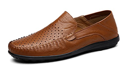 Louechy Men's Liberva Leather Slip-On Loafer Lightweight Driving Shoes Casual Loafers Shoes