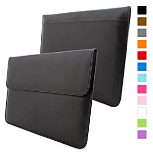 Macbook Pro 15 Sleeve, Snugg - Black Leather Sleeve Case Protective Cover for Macbook Pro 15