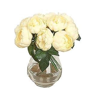 Artificial Flower Fake Silk Peony Flowers Faux Artificial Silk Floral Flower Bouquet Silk Flowers Leaf Wedding nikunLONG Yellow 110