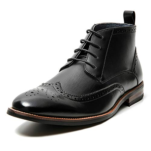 Men's Oxford Dress Leather Lined Cap Toe Angle Boots(9 M US,Black-3)