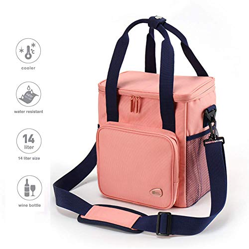 Insulated Lunch Bag with Adjustable Shoulder Strap, Reusable Lunch Tote for Ladies Girls Woman Man Student Kids (Pink)