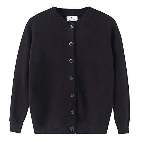 B BIMOZI Women Thick Button Down Cardigan Sweaters Crew Neck Medium Weight Long Sleeve Black XXXL