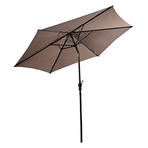 Giantex 9ft Solar Patio Umbrella Sunbrella Without LED Lighted, 6 Ribs Market Steel Tilt w/Crank for Garden, Deck, Backyard, Pool Indoor Outdoor Use, Tan by Giantex