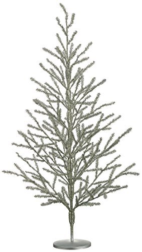 40 Inch Tinsel Christ mas Tree Antique Silver - 3.33 Foot Tinsel Pine - Tinsel Christmas Trees