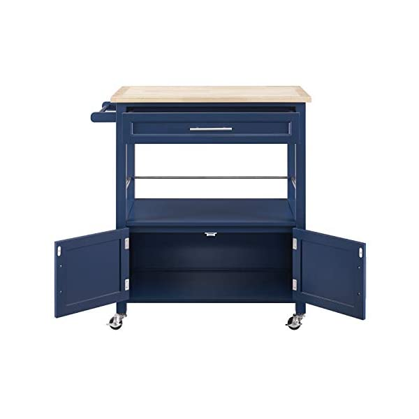 Linon Home Decor Products Marlow Kitchen Cart, Denim with Wood Top