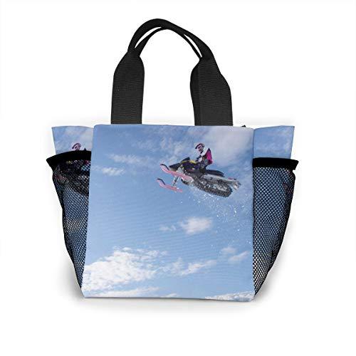 Lunch Bag, Snowmobile-jump-wallpaper-53618-55346-hd-wallpapers Reusable Portable Bento Lunch Tote Bags, Lightweight Handbag For School Outdoor (Lights Snow Christmas Wallpaper Hd)