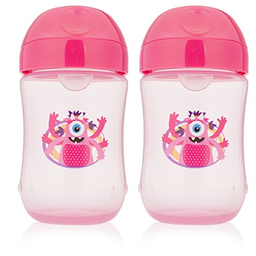 Dr. Browns Soft-Spout Toddler Cup, 9 oz (9m+), Monster Pink, 2 Count