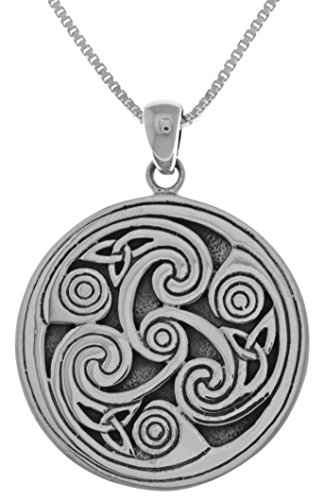 Jewelry Trends Celtic Triple Spiral Triskele Sterling Silver Pendant Necklace 18