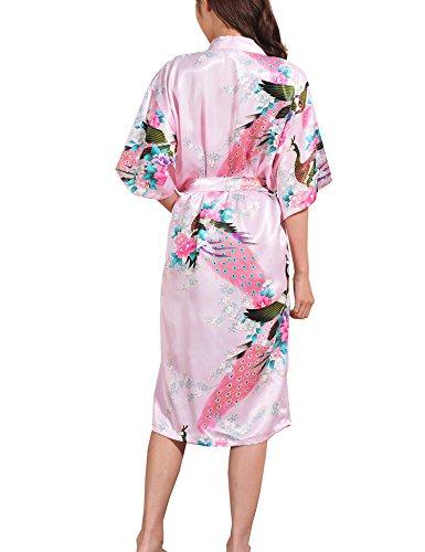Surenow Mujer Vestido Kimono Pavo & Flores Satén Albornoces Pijamas: Amazon.es: Ropa y accesorios