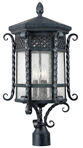 Maxim Lighting 30121CDCF Three Light Country Forge Seedy Glass Post Light, Black