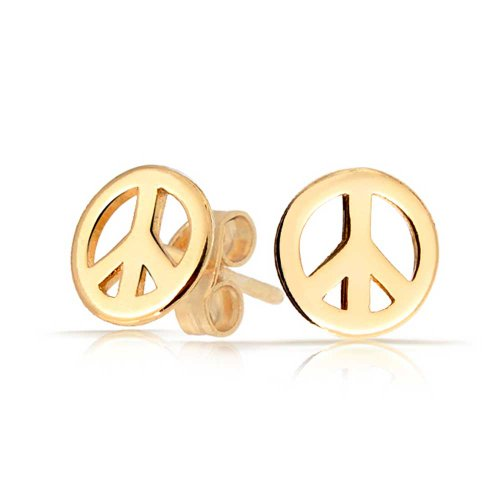 Hippie Peace Sign Jewelry Set (Bling Jewelry Kids Peace Sign Stud earrings Gold Plated 7mm)