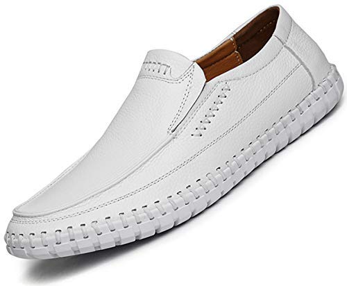 TSIODFO Men Leather Driving Shoes Fashion Slippers Casual Slip on Walking Loafers Shoes Summer ()