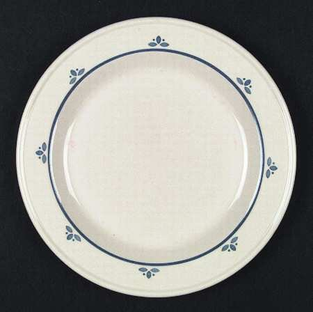Friendship Pottery SALAD PLATE tan with blue flower on rim - Roseville, Ohio
