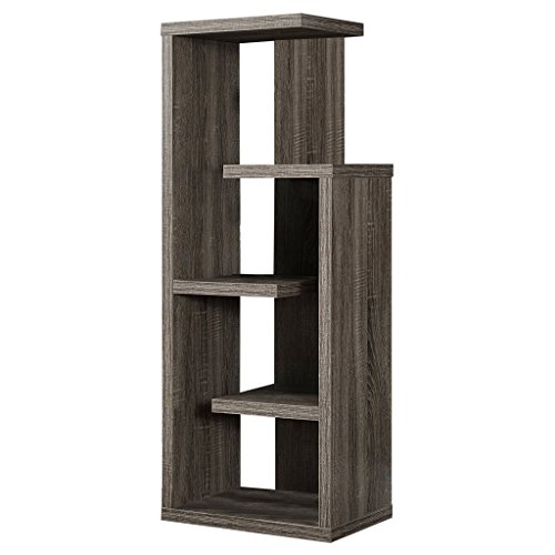 monarch specialties i 2467 bookcase dark taupe reclaimed look 48h - Reclaimed Wood Bookshelves