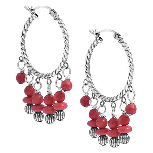 American West Sterling Silver Red Coral Gemstone and Silver Beaded Chandlier Hoop Earrings