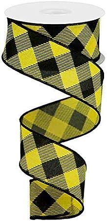 Diagonal Plaid Check Wired Edge Ribbon Black, White, 2.5 10 Yards