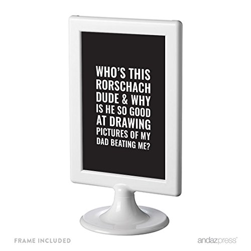 Andaz Press Funny Framed Desk Art, Who's This Rorschach Dude And Why Is He So Good At Drawing Pictures Of My Brother Beating Me?, 4x6-inch Witty Quotes Home Office Gift Print, 1-Pack, Includes Frame