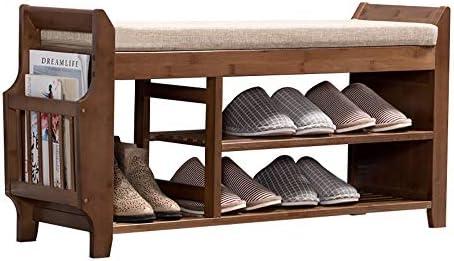 玄関 収納付き ベンチ 生体組織のための多機能竹の靴のベンチ入口貯蔵層2 省スペース おしゃれ (Color : Brown, Size : 62x29.5x49.5cm)
