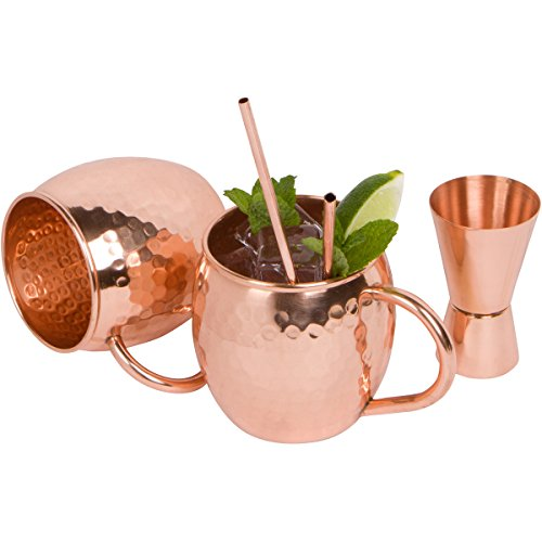 Redstar Barware 100% Solid Hammered Copper Moscow Mule Mugs (Set of 2), 16 oz, with Doublejigger.