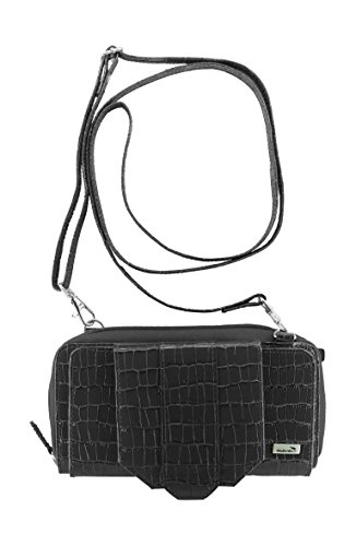 Wallet Leather Croco WalletBe Cell Phone with Accordion RFID Women's Crossbody Black Purse a1qw4F