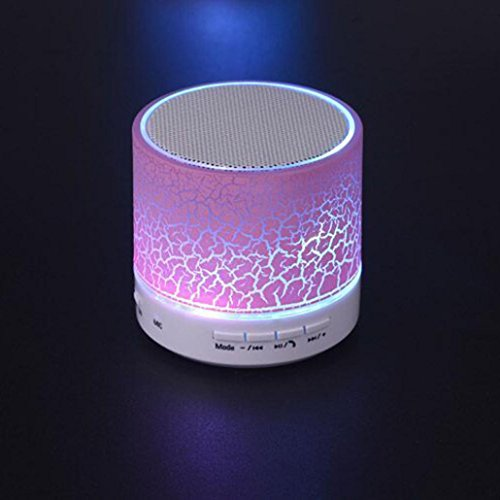 LED Bluetooth Multimedia Speakers, Lotus.flower Dry Crack Sound Stereo SoundBox Wireless Super Bass Loudspeaker HD Music Player For iPhone Tablet PC FM (Pink)
