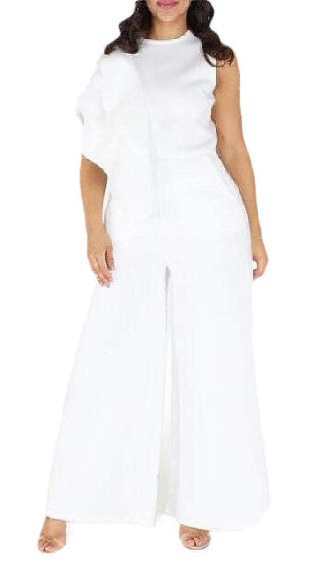 FF-fanmeili Womens Jumpsuits Ruffle Wide Leg Long Pants Rompers Plus Size