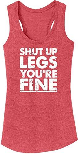 Ladies Tri-Blend Tank Top Shut Up Legs You're Fine Red Frost M (Jens Voigt Shut Up Legs T Shirt)
