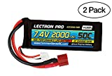 (2 Pack) Lectron Pro 7.4V 2000mAh 50C Lipo Battery with Deans-Type Connector for 1/16 and 1/18 Scale Cars and Trucks
