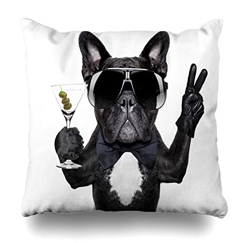 Ahawoso Throw Pillow Cover Square 18x18 Drink Birthday Dog Martini Cocktail Victory Peace Bulldog Fingers Funny Food French Cool Alcohol Pillowcase Home Decor Cushion Pillow Case