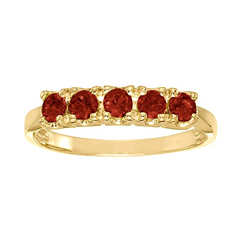 ArtCarved Sweet Moment Simulated Garnet January Birthstone Ring, 10K Yellow Gold, Size 5.5