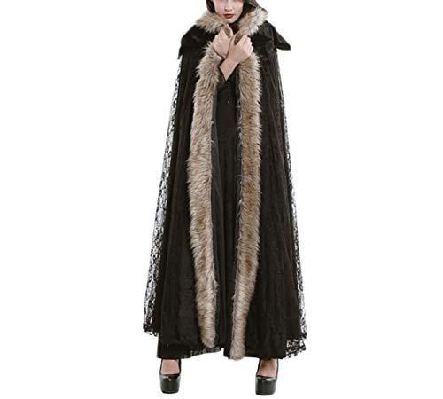 WLG Nouveau vtement Femme Automne et Hiver, Manteau Femme en Laine  Longue Cape, Manteau et Coupe-Vent  Capuche en Velours,Noir,Taille Unique