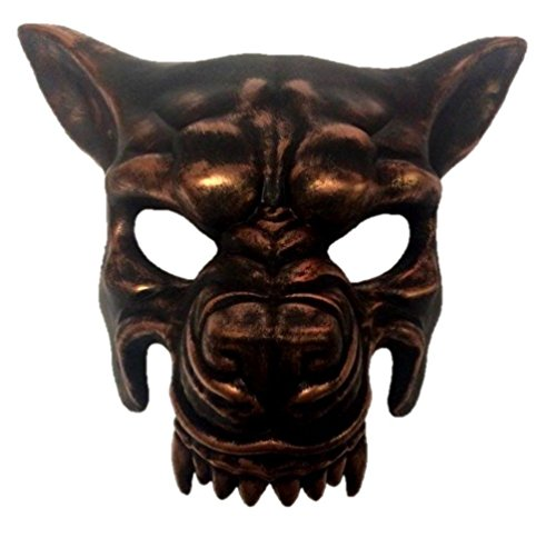 Exotic Venetian Witch Mask (Antique Copper Wolf Half Mask Adult Animal Angry Dog Venetian Costume Accessory)